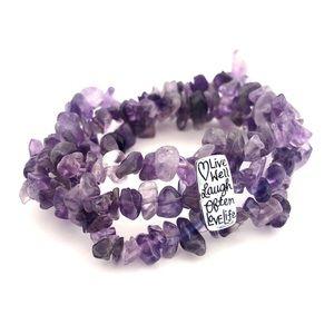 Jewelry - Amethyst Stone Chip Stretch Bracelet Inspirational